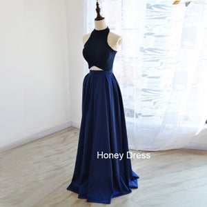 Image of Glamorous Royal Blue Satin Two-Piece Long Dress, Jersey Halter Cut Out Prom Dresses