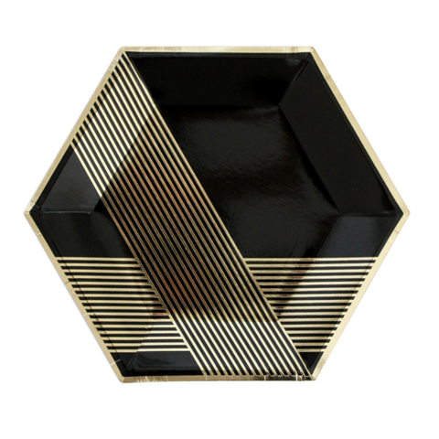 Image of Black Hexagon Large Party Plates