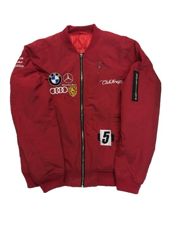 """Image of Club Foreign Bomber Jacket """"Red"""""""