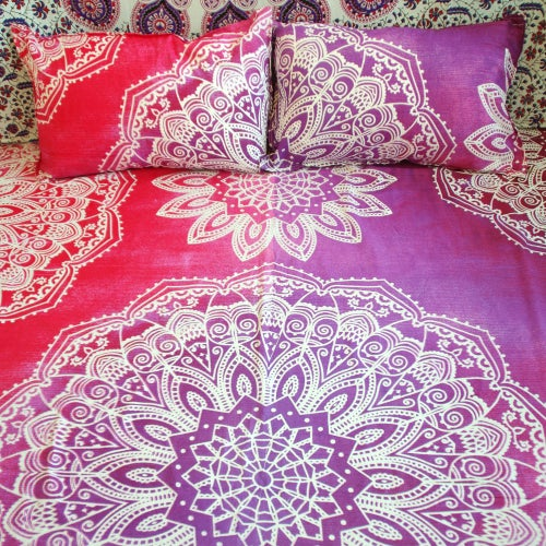 Image of Tie Dye Magic Eye Throw or Throw Set in Pinkish-Red & Purple from