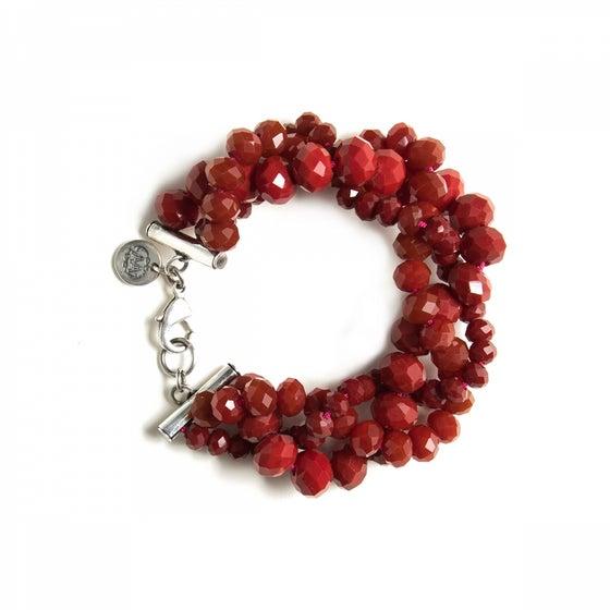 Image of Bracelet OLGA burgundy plaqué argent