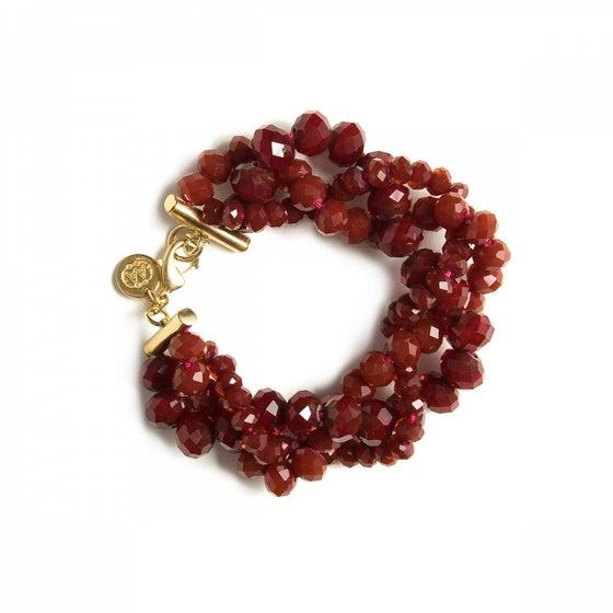 Image of Bracelet OLGA burgundy plaqué or