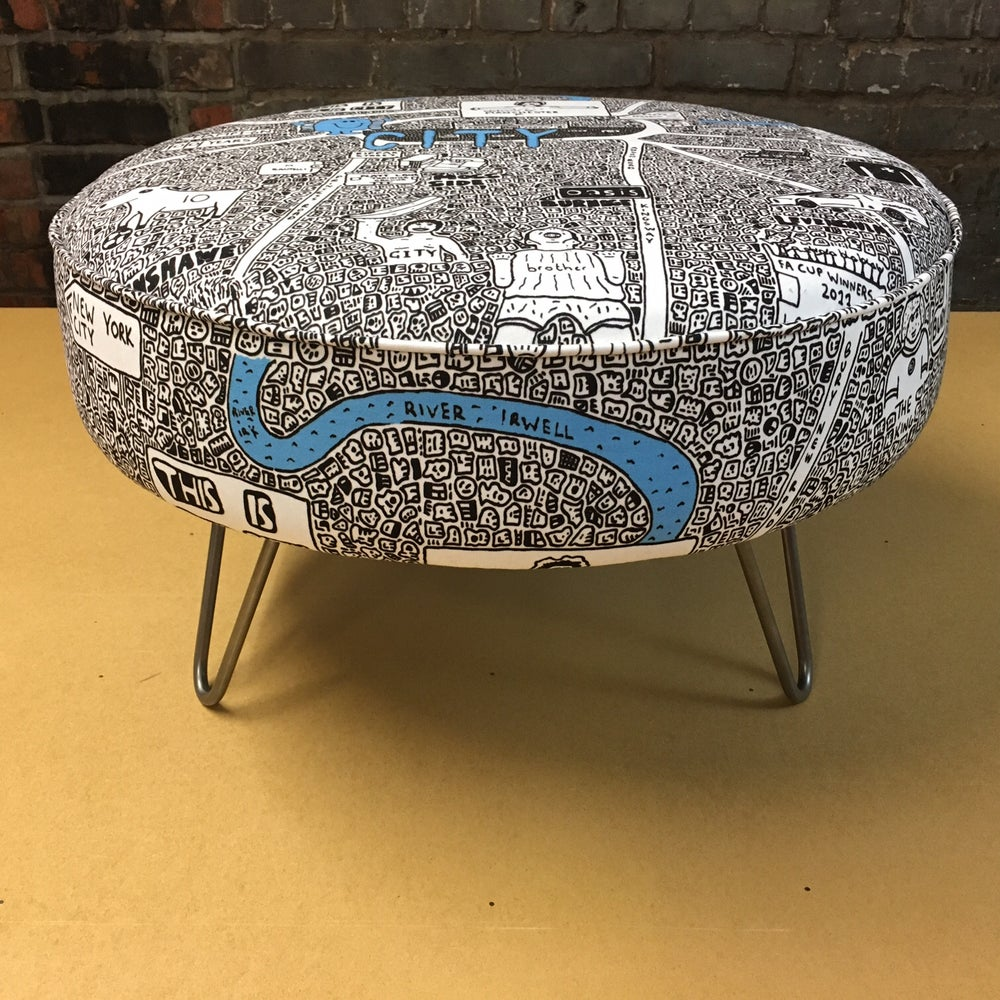 Image of City Doodle Map Footstool