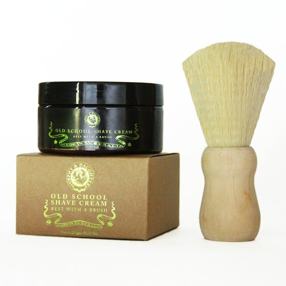Image of Old School Shave Cream with a Beech handled Shaving brush