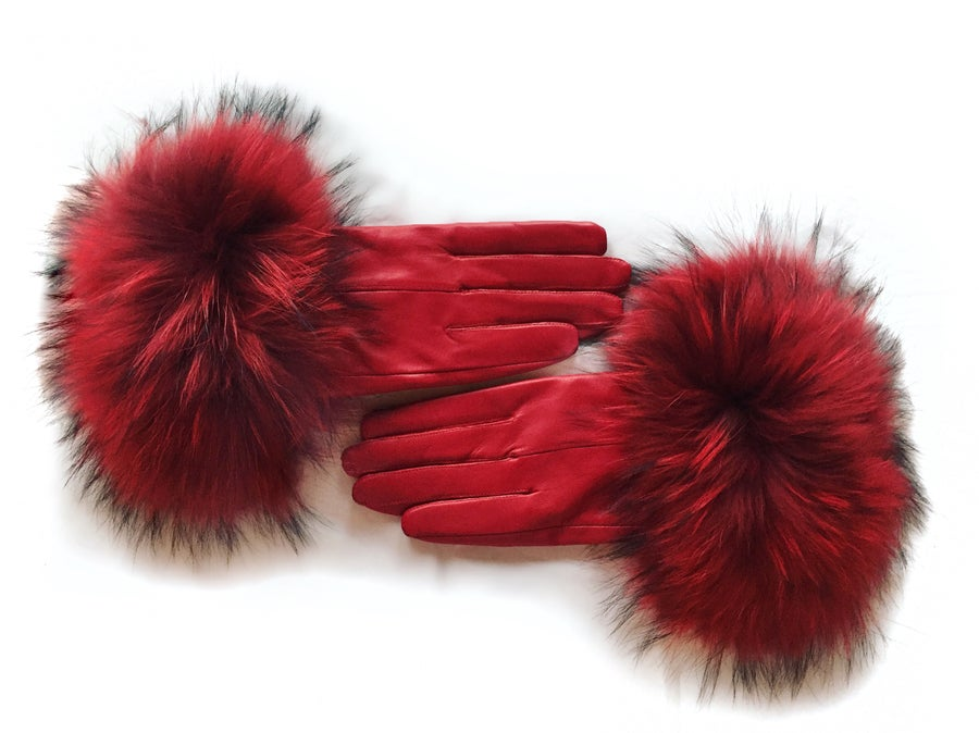 Image of Amsterdam Leather Raccoon Fur Gloves