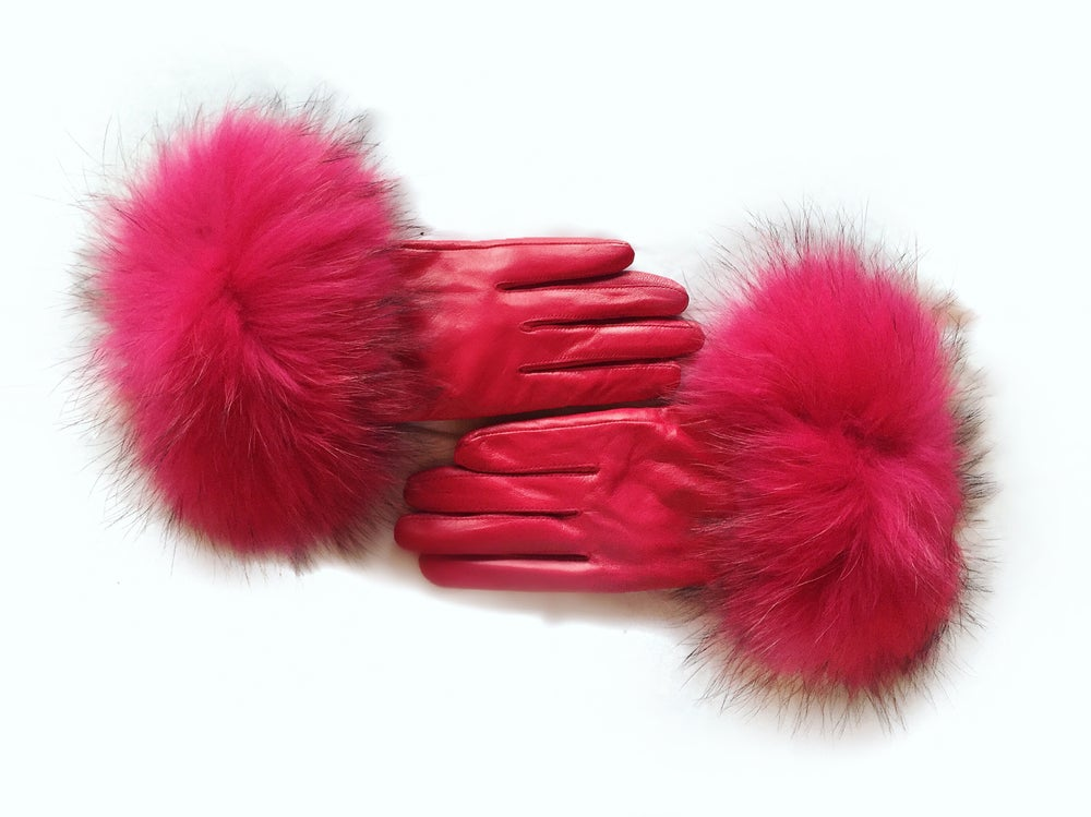 Image of Zurs Raccoon Leather Fur Gloves