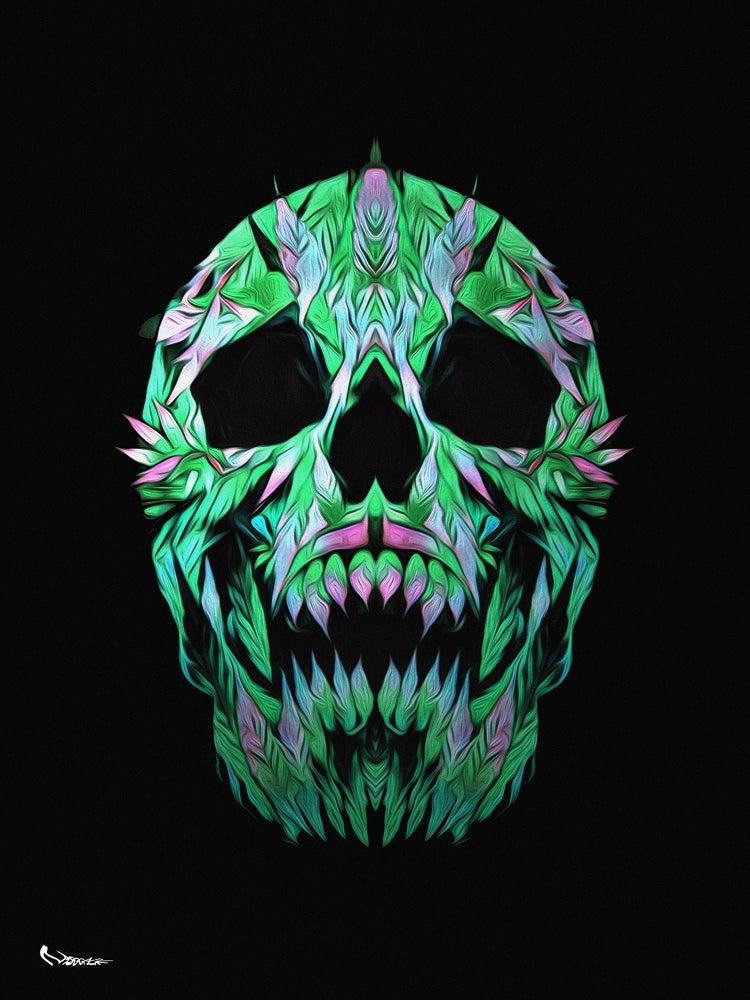 "Image of Marijuana Skull 18""x24"""