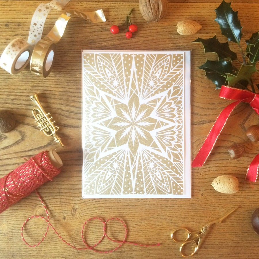 Image of Gold Star Screen Printed Greeting Card      Other colours available