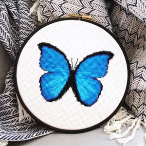 Image of Blue Butterfly cross-stitch PDF pattern