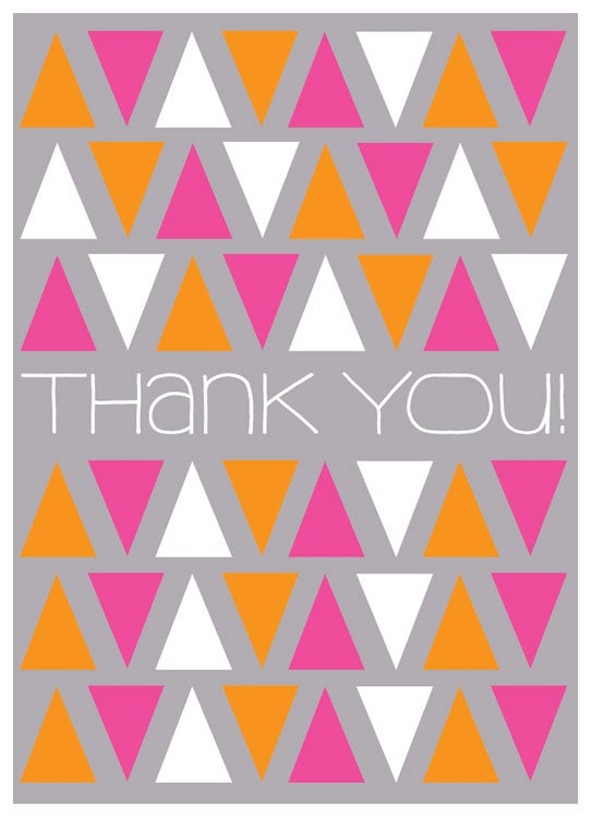 Image of Sweet Thank You Greeting Card - Triangle Pattern Stationery Card - Blank Inside