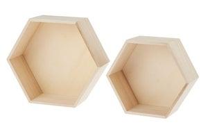 Image of 2 Estanterías hexagonales de madera