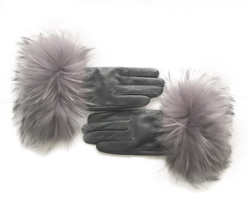 Image of Siberia Leather Raccoon Fur Gloves