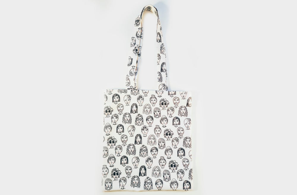 Image of Faces tote bag