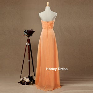 Image of Orange Chiffon Sweetheart Strapless Floor Length Long Bridesmaid Dress,Prom Gown,Formal Dresses