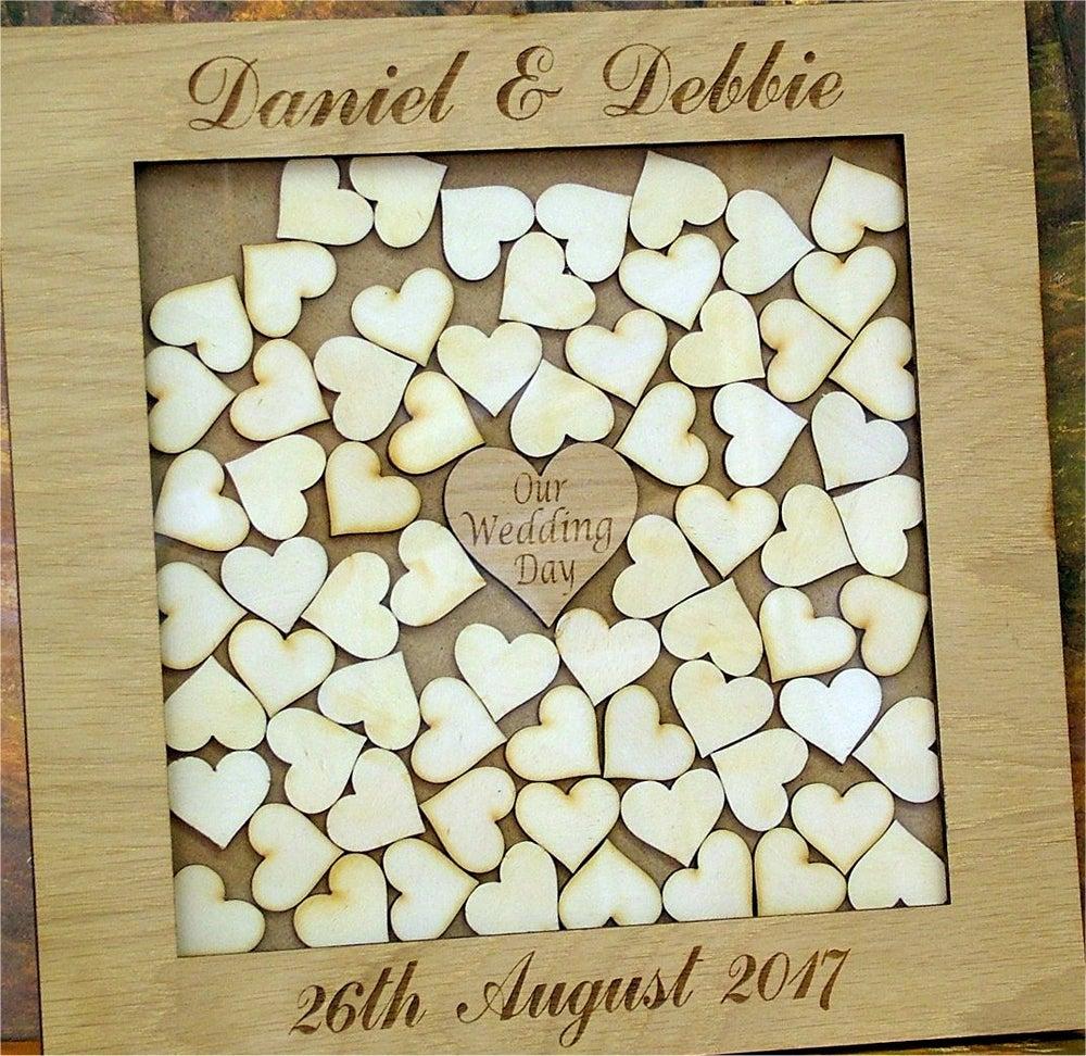 Image Of Drop Box Personalised Wedding Set Anniversary Guest Book Alternative Oak