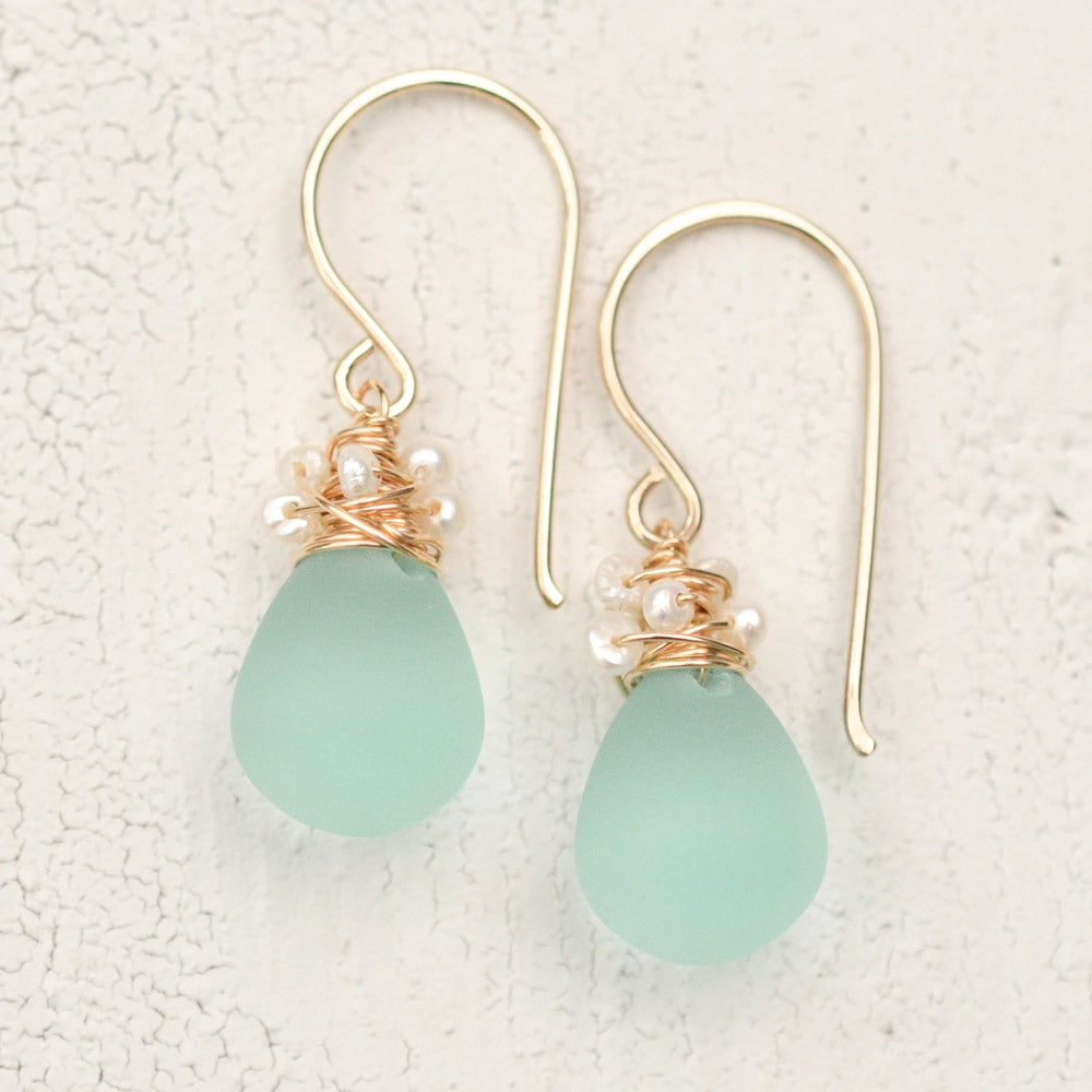 Image of Aqua glass earrings with cultured freshwater seed pearls