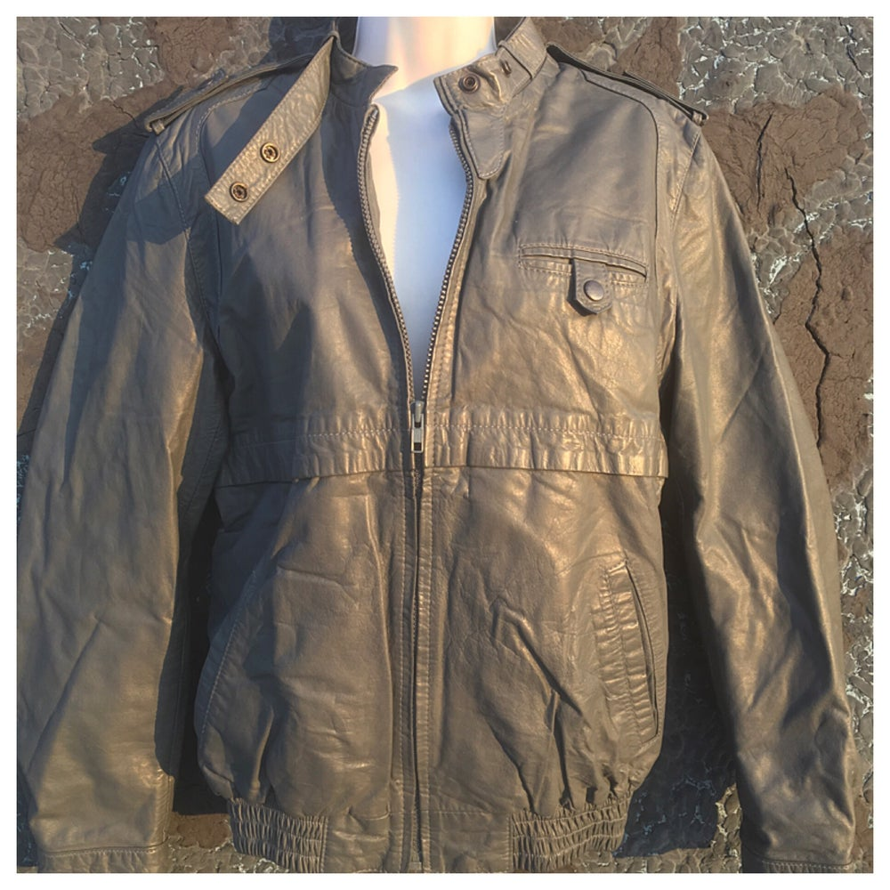 Image of Grey 80s Leather Bomber