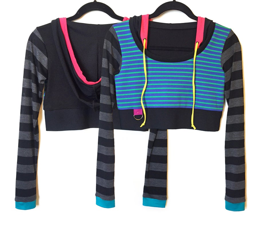 Image of Dance Stripe Crop Hoody