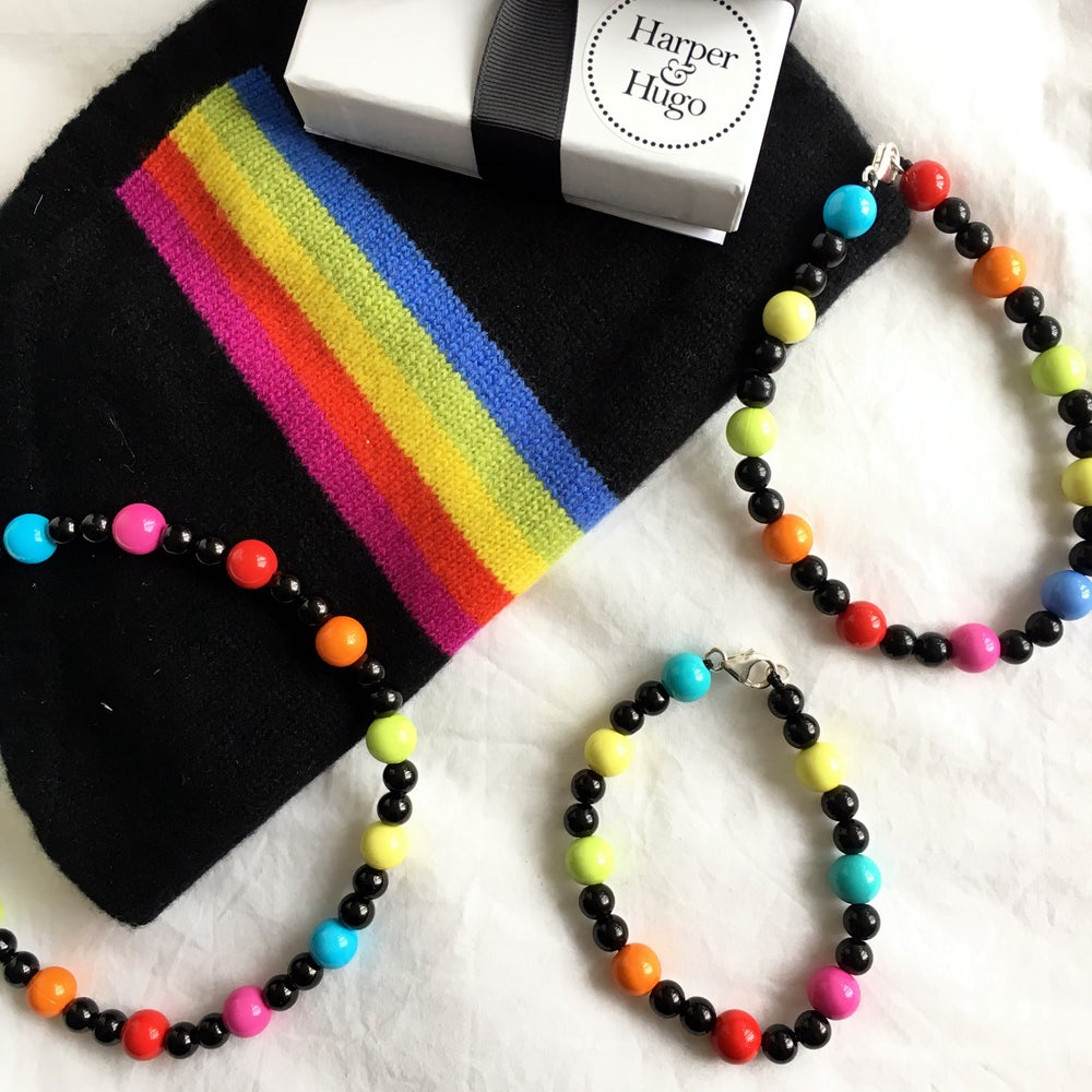 Image of Peggy ~ Black & Multi-Coloured Beaded Dog-Necklace