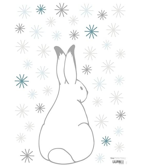 """Image of Vinilo infantil """"Conejo con copos de nieve""""(-20%)"""