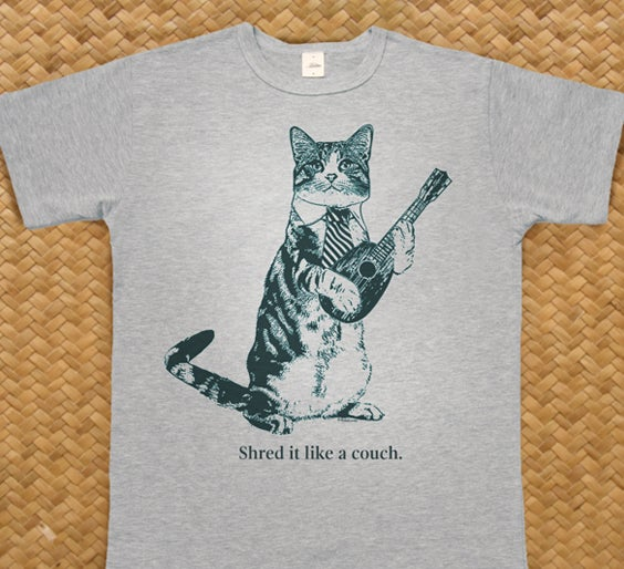 "Image of Cat T-Shirt ""Shred it like a couch"" (now in stock)"