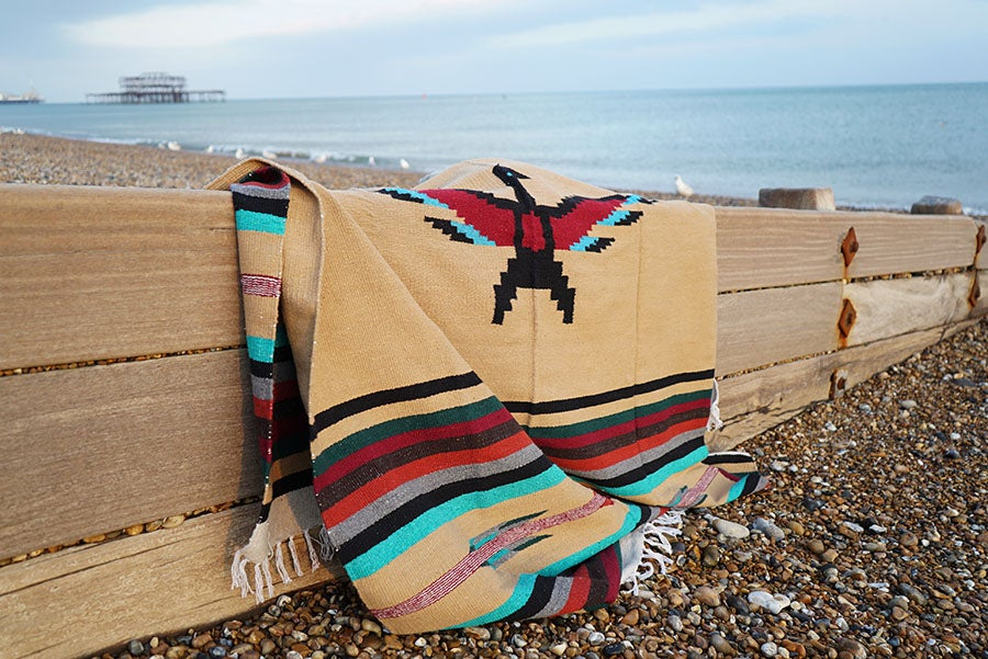 Image of Authentic Mexican Blanket featuring 'Thunderbird' in COFFEE