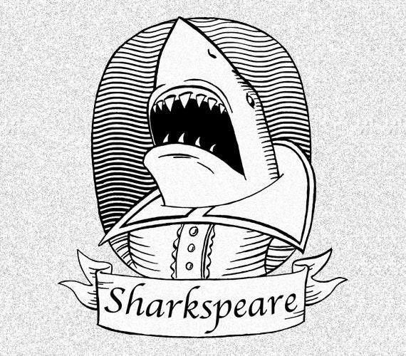 Image of Sharkspeare Men's tee (light or dark heather grey)