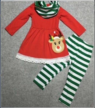 Image of Precious Reindeer three piece outfit with matching scarf, baby, toddler, girl. holiday, photos