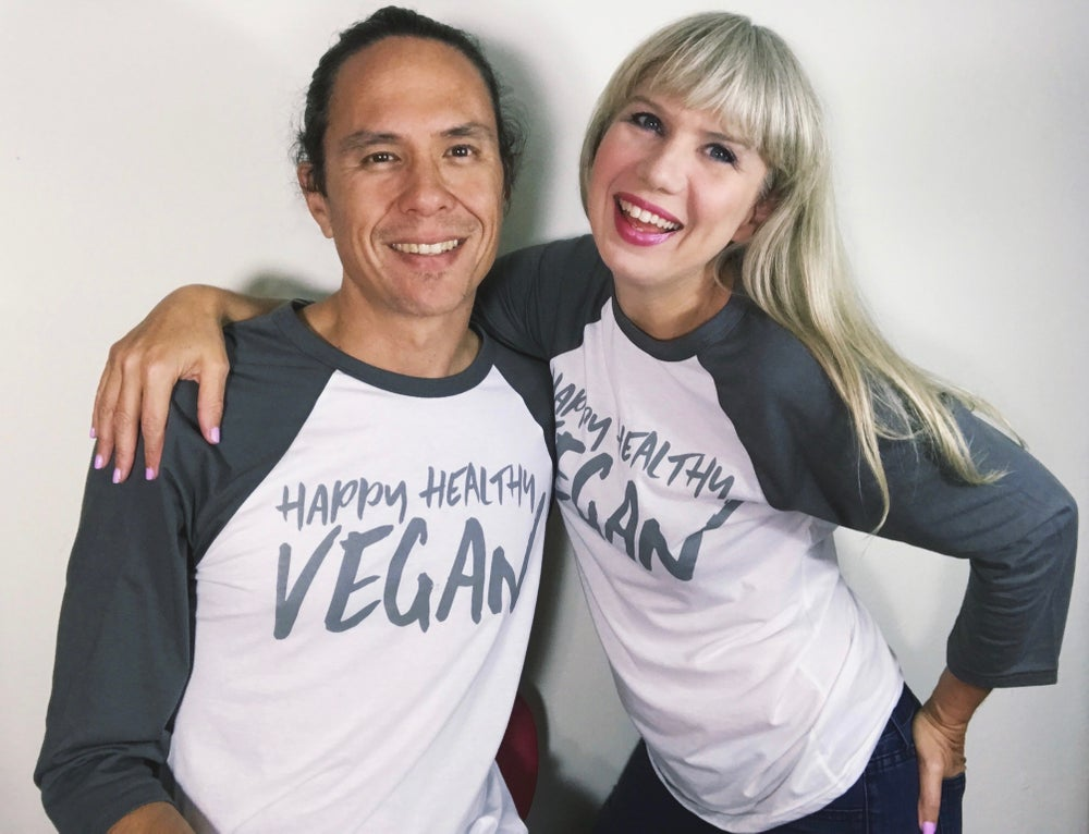 Image of Happy Healthy Vegan Unisex Raglan Tee