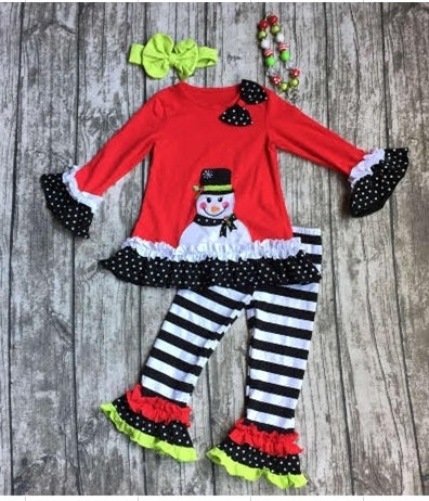 Image of Frosty Two Piece Ruffled Boutique outfit, Holidays, Christmas, baby, toddler, girl