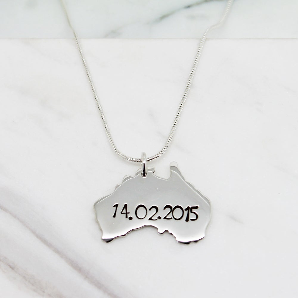 Image of Personalised Australia Sterling Silver Necklace