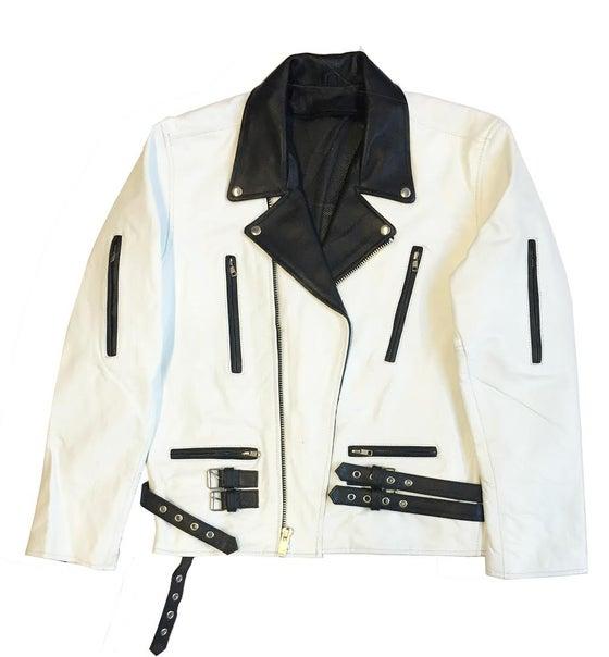 """Image of Rock Hard Vintage Biker Leather """"White & Black"""""""