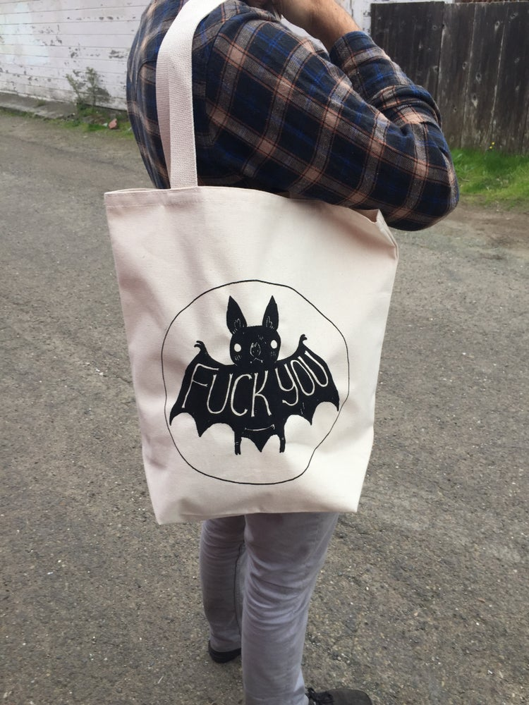 Image of Fuck You Bat Tote Bags