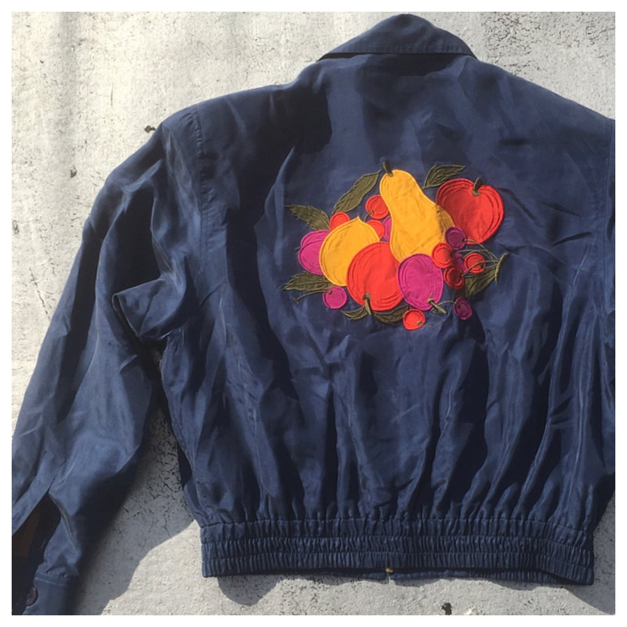 Image of Cropped Silk Appliqué Jacket