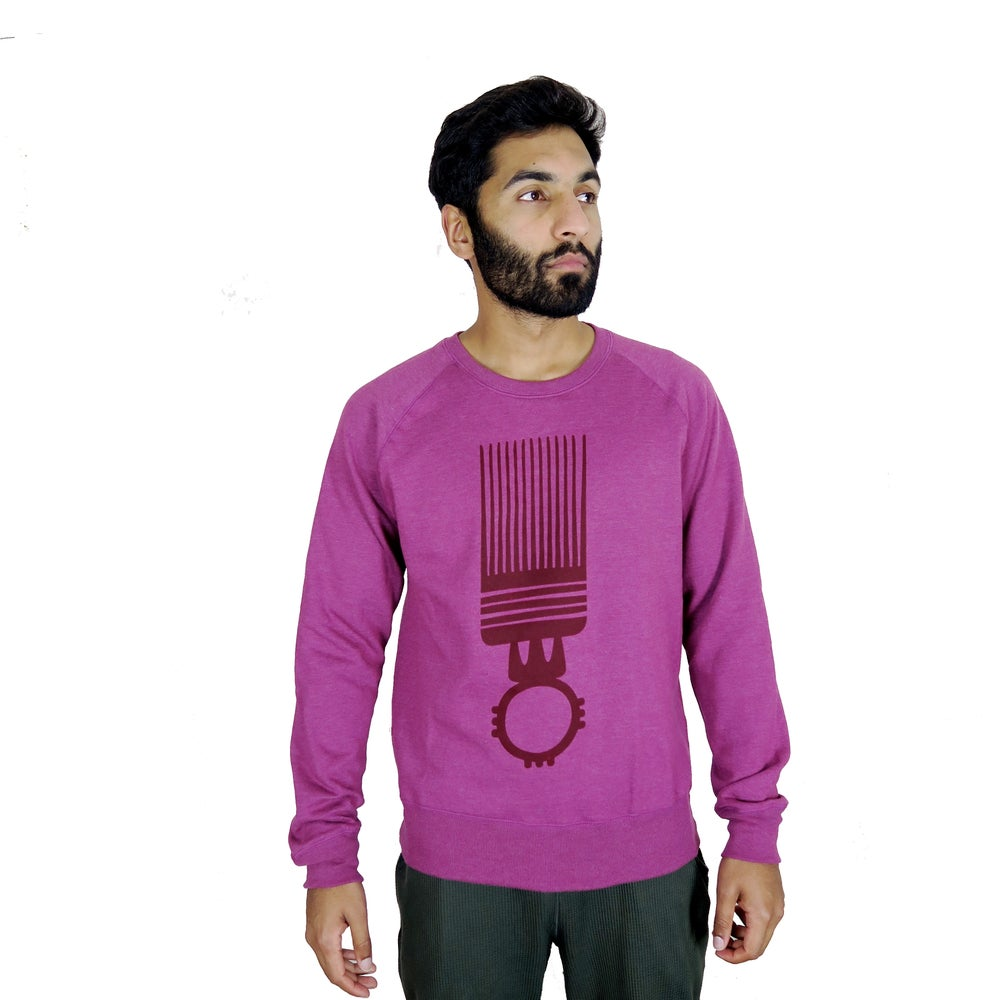 Image of AfriCAN Spruce Comb Men's Raglan Sweatshirt in Melange Plum and Burgundy