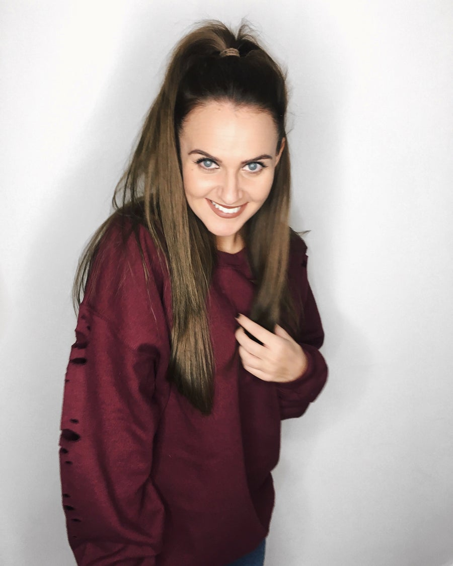 Image of Burgundy Distressed Sweatshirt