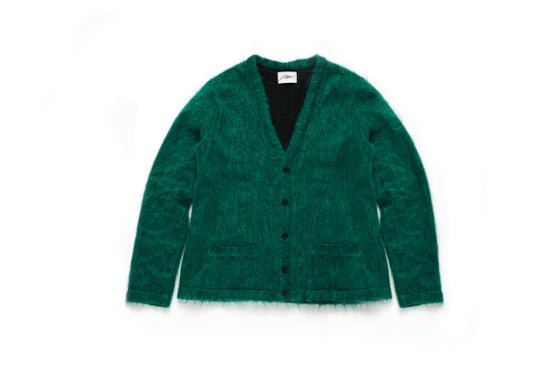 Image of SHADOWED MOHAIR CARDIGAN - EMERALD