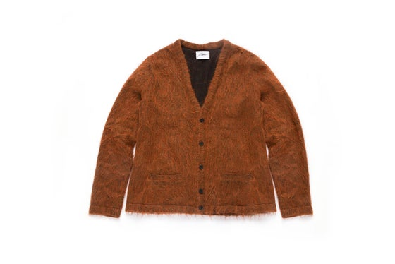 Image of SHADOWED MOHAIR CARDIGAN - BURNT ORANGE
