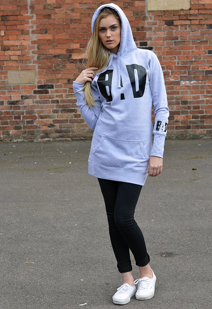 Image of Premium Long Hoodie Dress by Bad Clothing London Urban Designer Street Wear Fashion