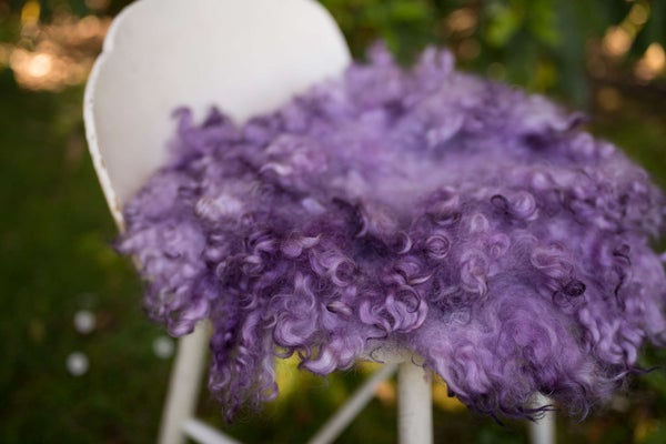 Image of ROYAL PURPLE - PREMIUM CURLY wool felted layer - MADE TO ORDER - newborn photo prop - FLOVELIES