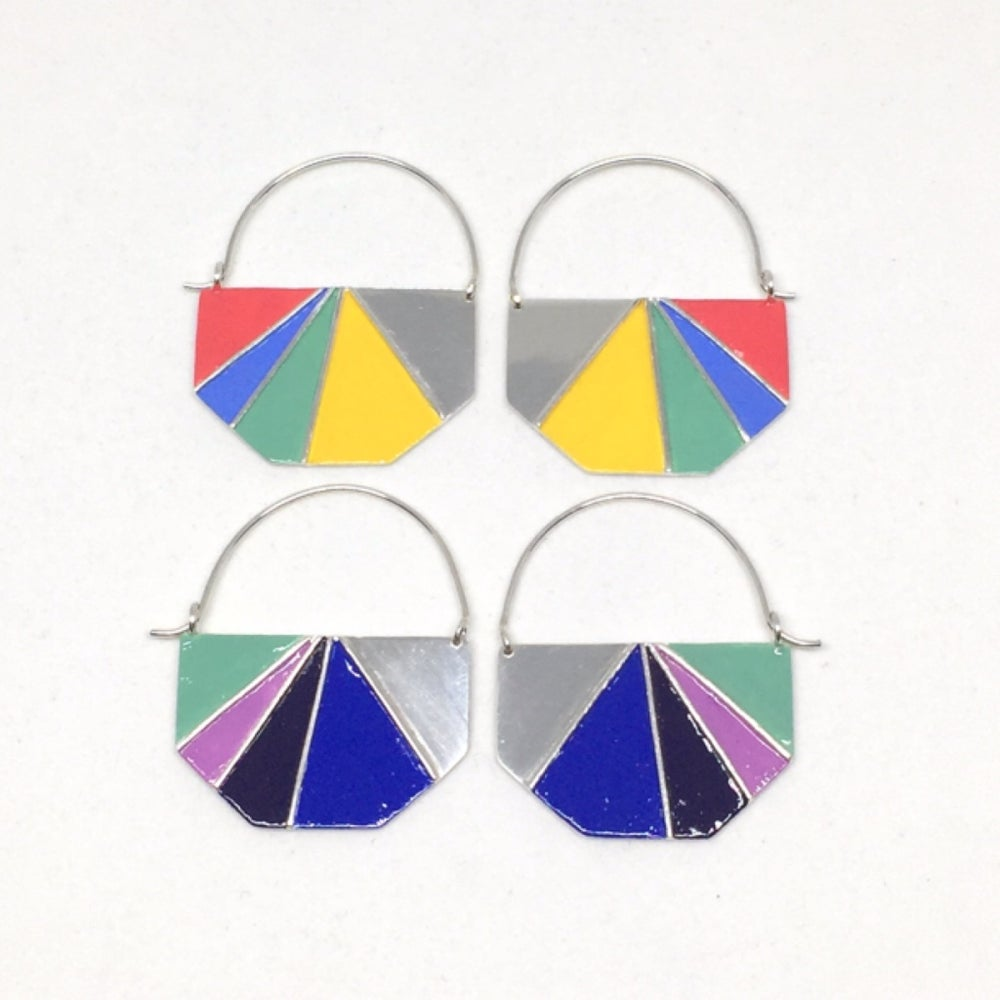 Image of Divided Half Hexagon Earrings