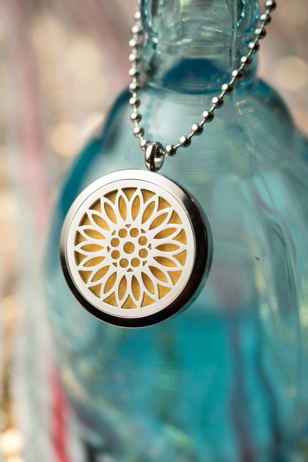 Image of Sunflower Essential Oil Diffuser Necklace