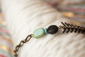 Image of Antique Brass & Glass Essential Oil Diffuser Bracelet