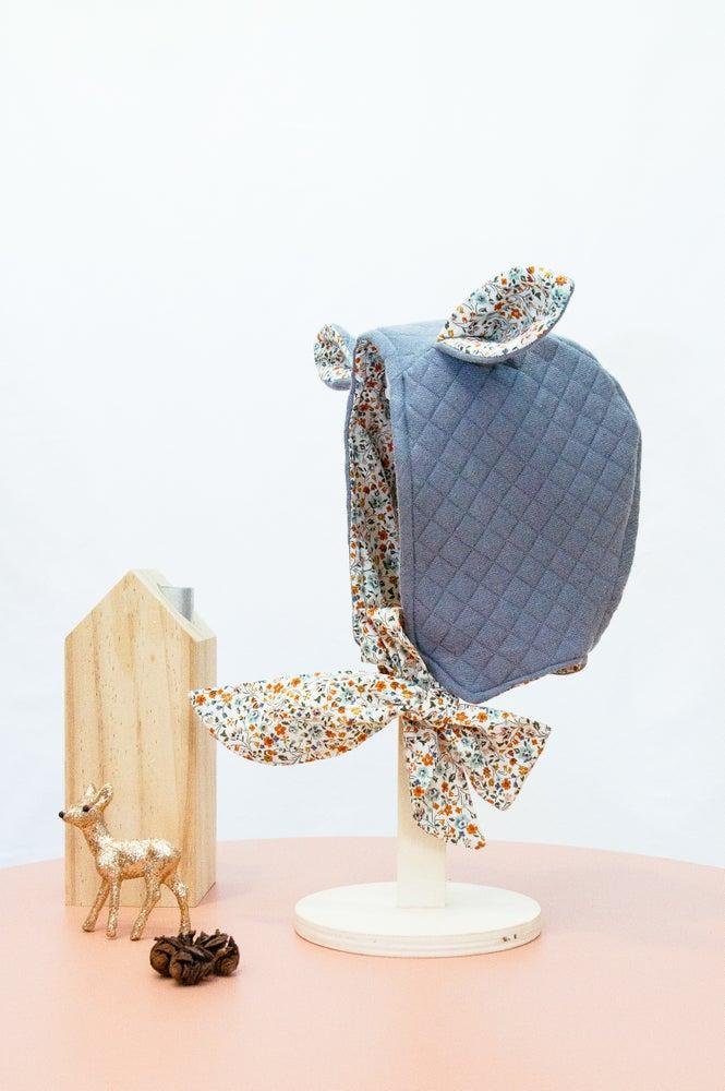Image of Bonnet HORTENSE (Jersey matelassé gris & Liberty)