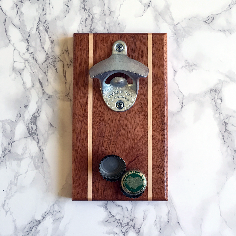 Image of Mahogany and maple magnetic bottle opener