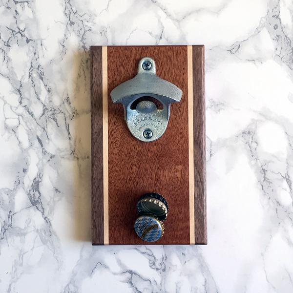 Image of Walnut, mahogany, and maple magnetic bottle opener