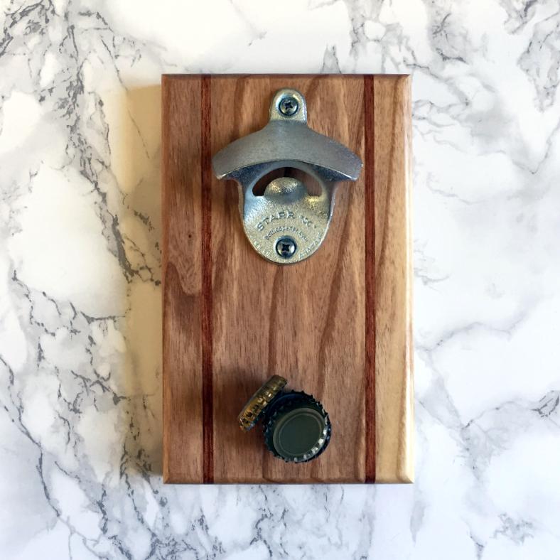 ash and bubinga magnetic bottle opener - Magnetic Bottle Opener