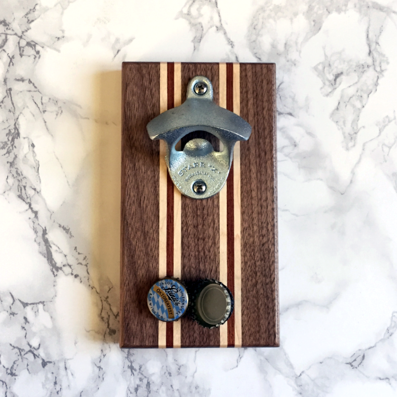 Image of Walnut, maple, and bubinga magnetic bottle opener