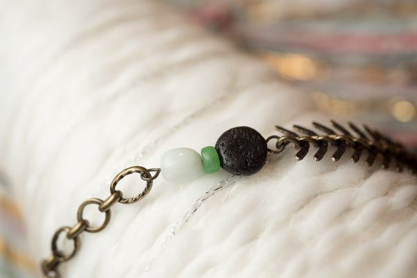 Image of Antique Brass & Amazonite Essential Oil Diffuser Bracelet