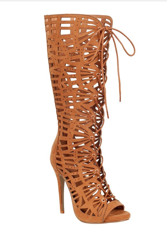 Image of Geometric Perforated Lace-Up Stiletto Boots